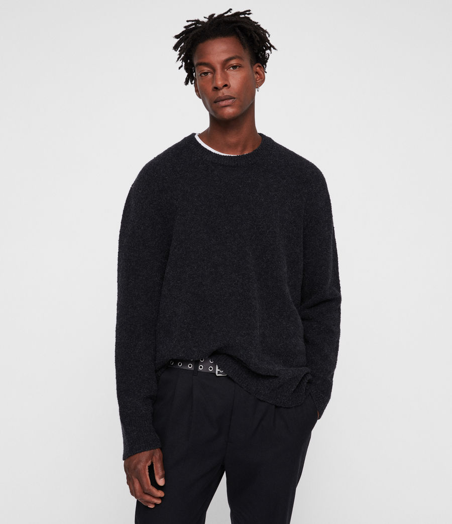 Mens Hane Crew Sweater (cinder_black_marl) - Image 1