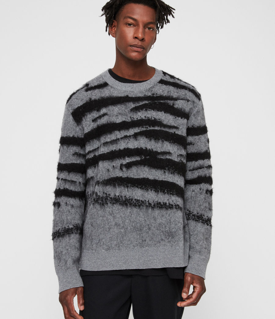Men's Ture Crew Jumper (grey_marl_black) - Image 1