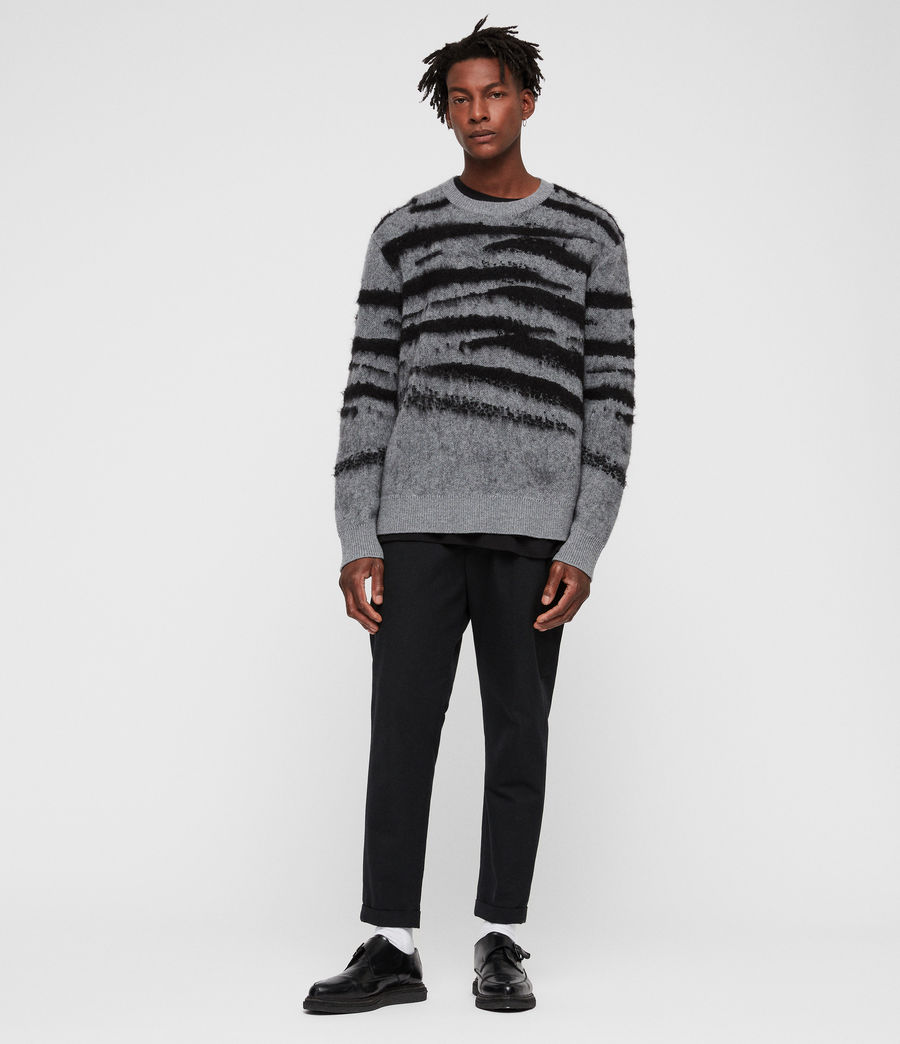 Mens Ture Crew Sweater (grey_marl_black) - Image 3
