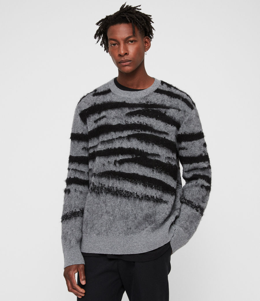 Mens Ture Crew Sweater (grey_marl_black) - Image 4