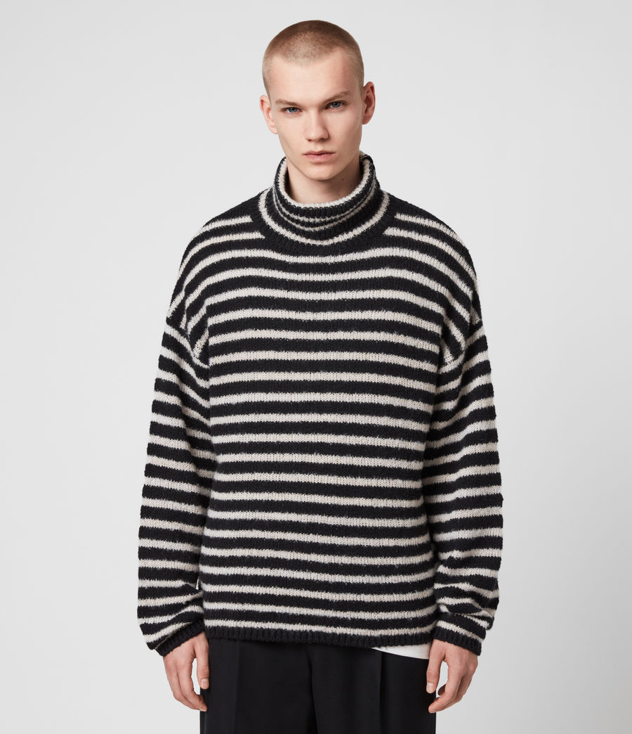 Men's Alderney Funnel Neck Jumper (black_ecru) - Image 4