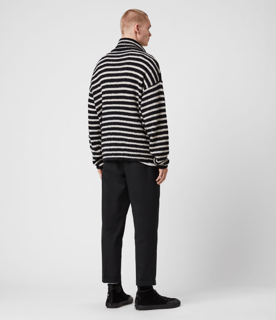 Men's Alderney Funnel Neck Jumper (black_ecru) - Image 5