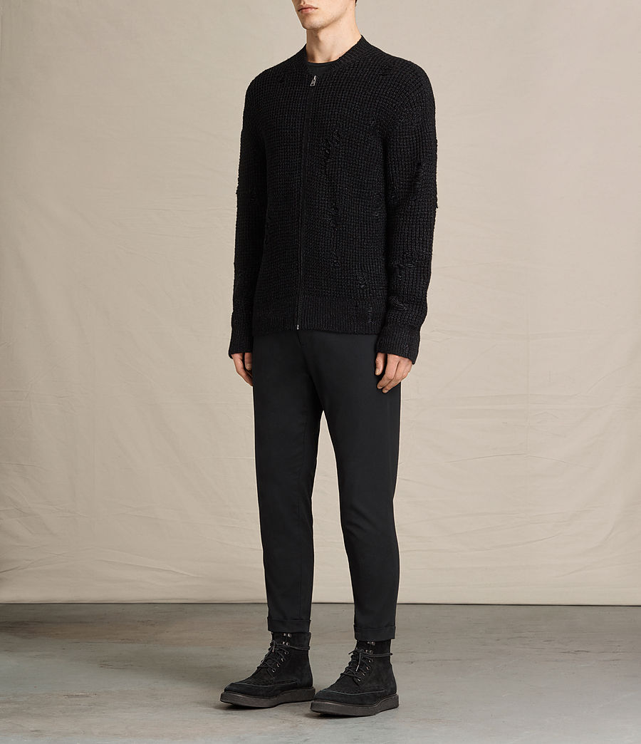 Herren Vektarr Pullover mit Reißverschluss (black) - Image 3