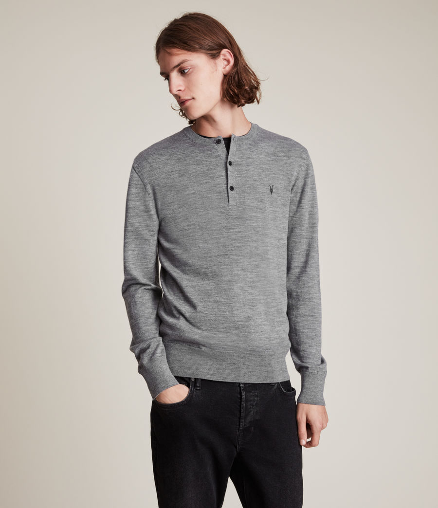 Herren Mode Merino Henley Top (grey_marl) - Image 1