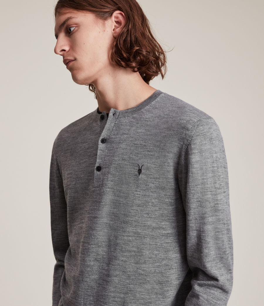 Herren Mode Merino Henley Top (grey_marl) - Image 4