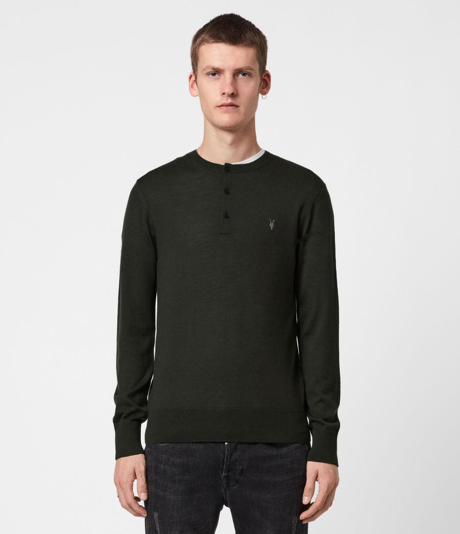 Herren Mode Merino Henley Langarmshirt (moss_green) - Image 1