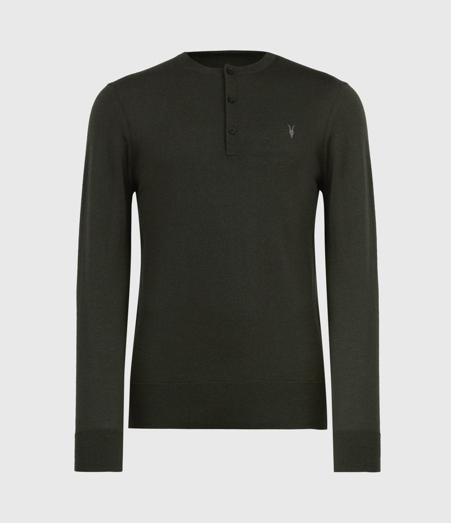 Herren Mode Merino Henley Langarmshirt (moss_green) - Image 2