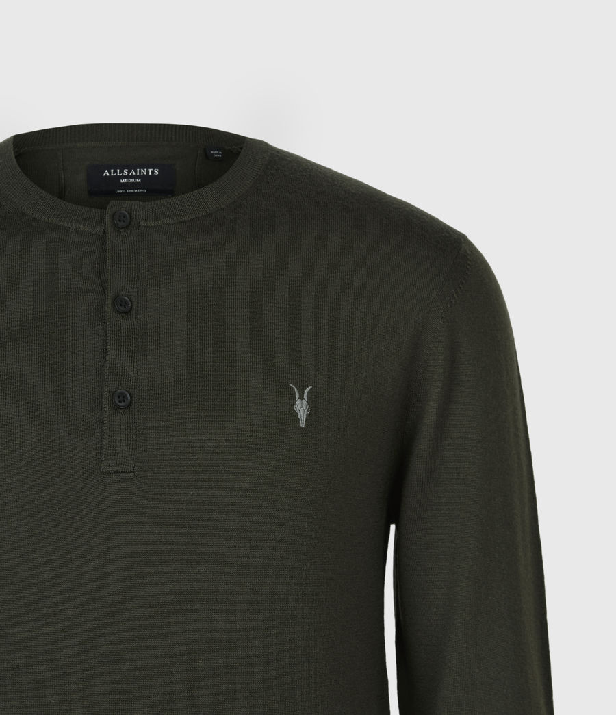 Herren Mode Merino Henley Langarmshirt (moss_green) - Image 5