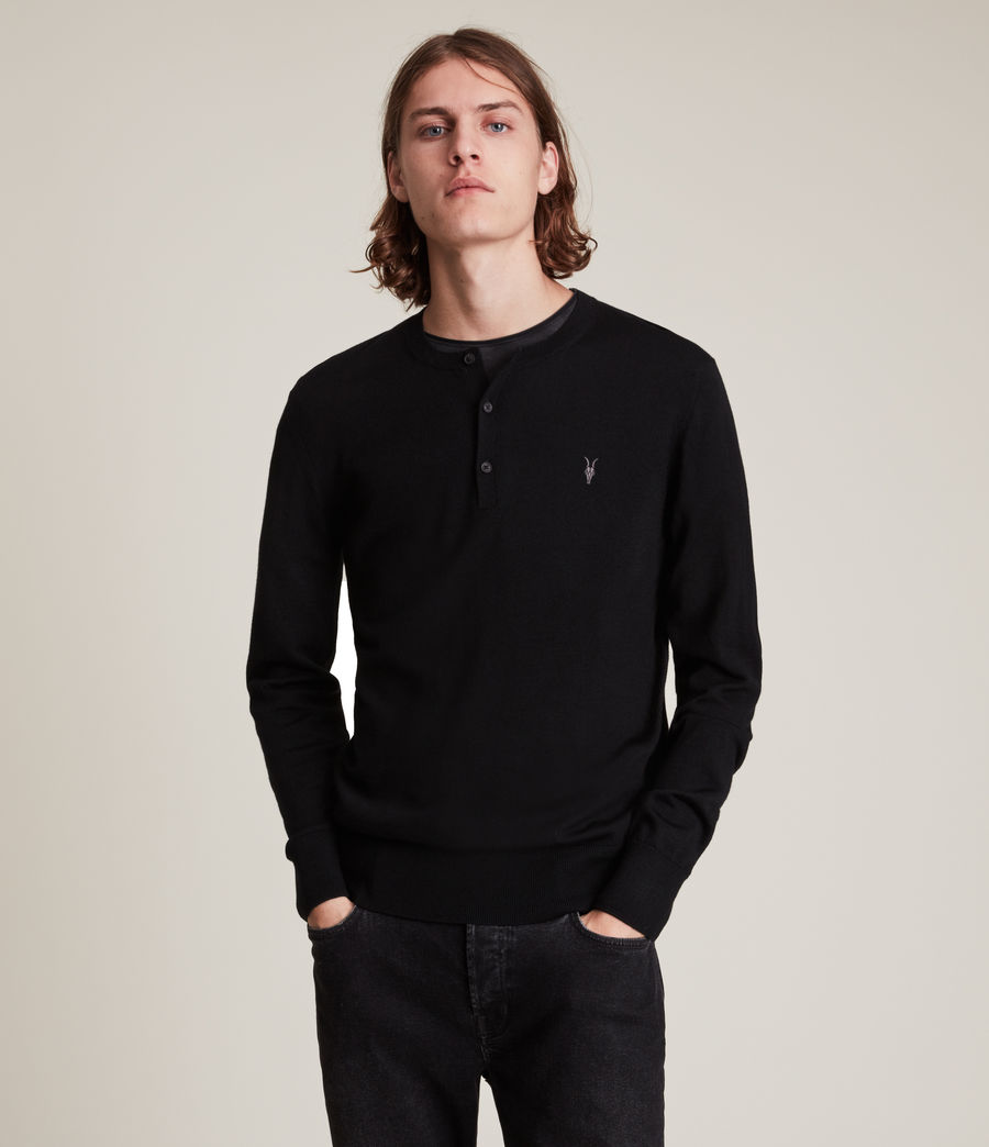 Herren Mode Merino Henley Top (black) - Image 1