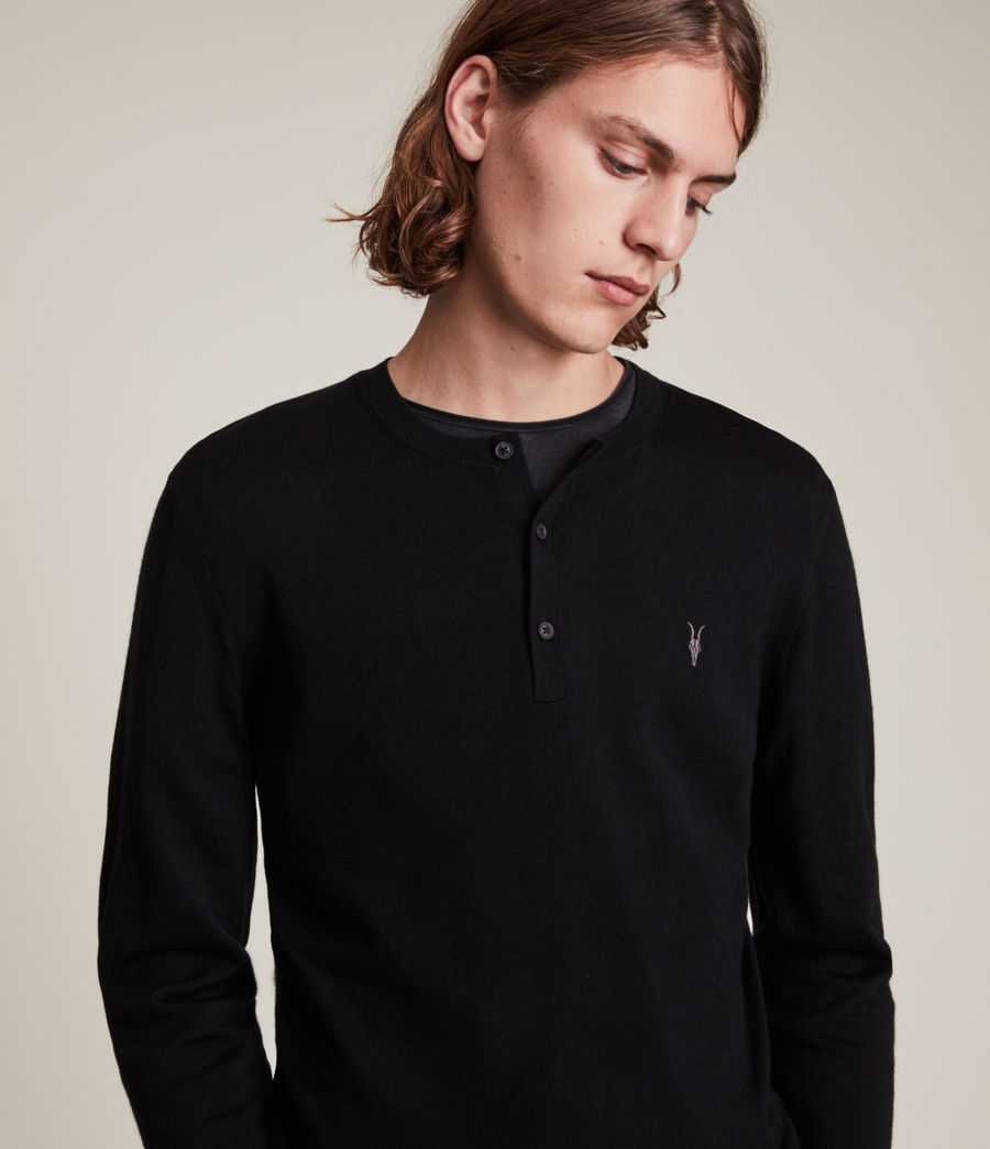 Mens Mode Merino Long Sleeve Henley (black) - Image 2