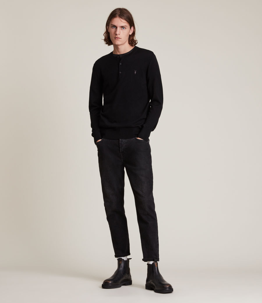Mens Mode Merino Long Sleeve Henley (black) - Image 3