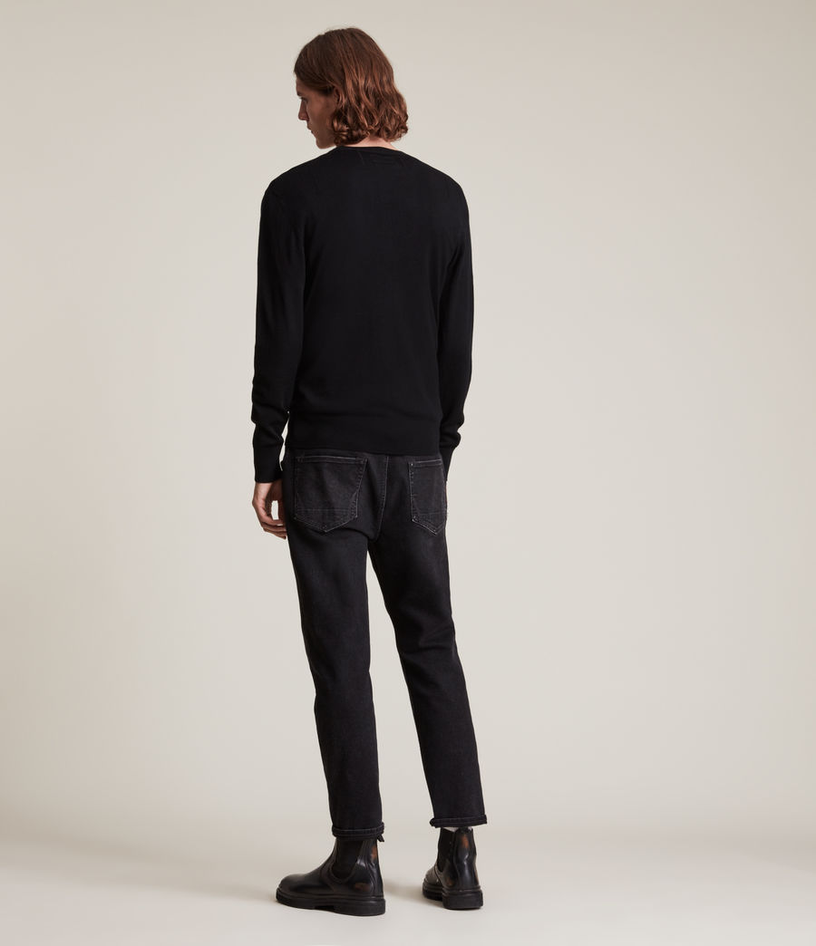 Mens Mode Merino Long Sleeve Henley (black) - Image 4