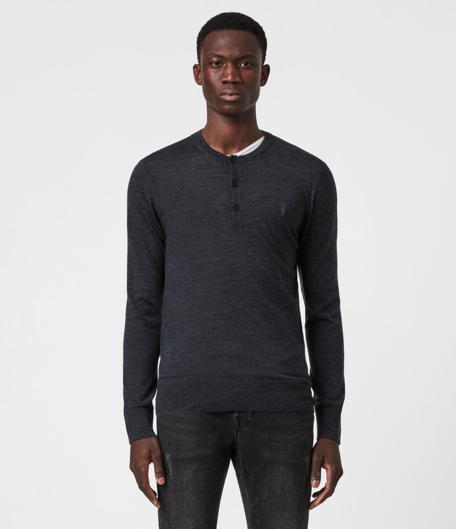 Mens Mode Merino Long Sleeve Henley (black) - Image 1