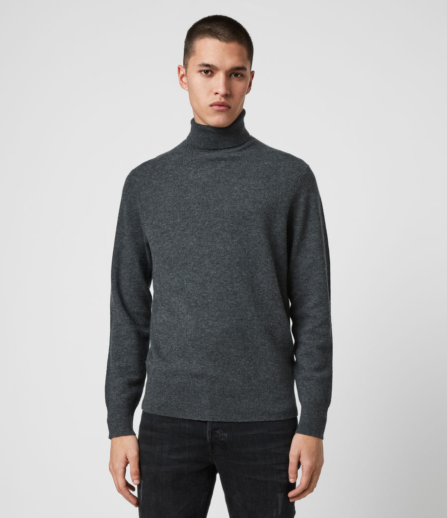 Mens Glen Roll Neck Sweater (charcoal_marl) - Image 1