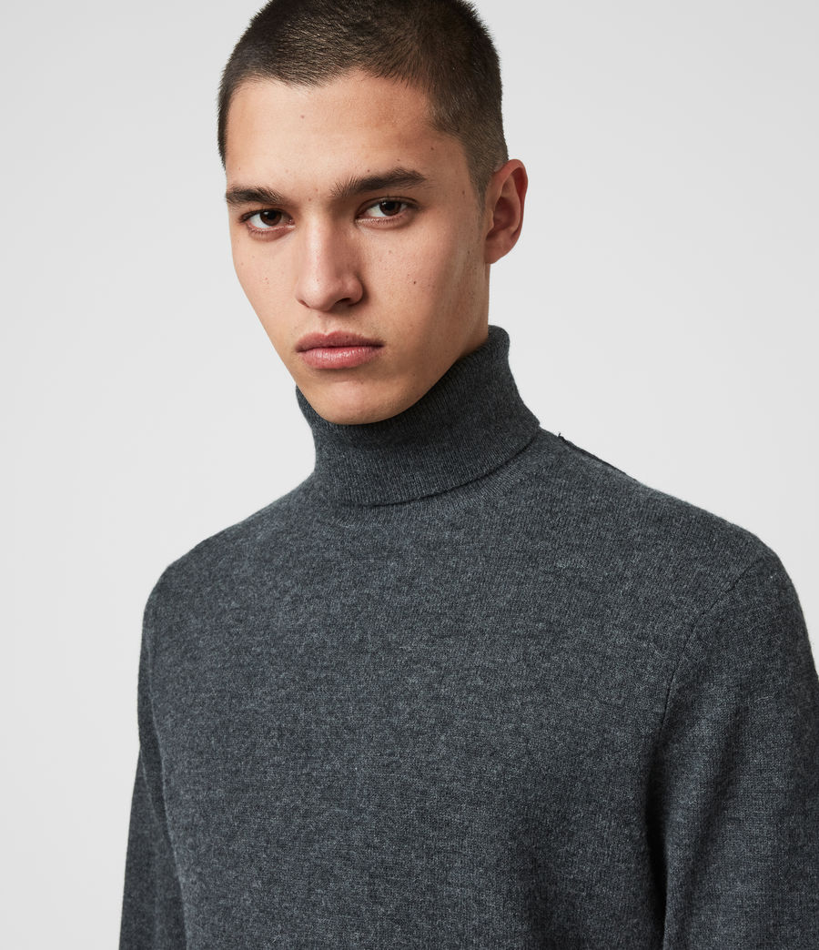 Mens Glen Roll Neck Sweater (charcoal_marl) - Image 2