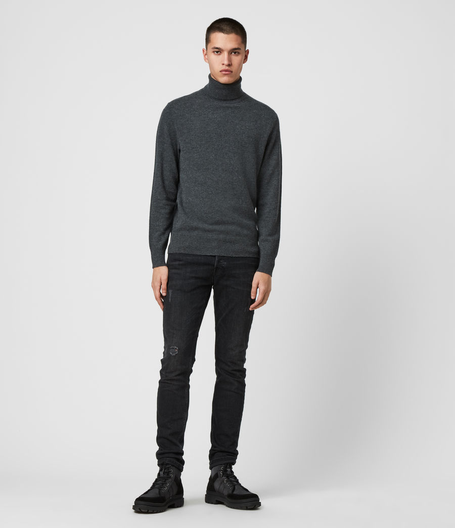 Mens Glen Roll Neck Sweater (charcoal_marl) - Image 3