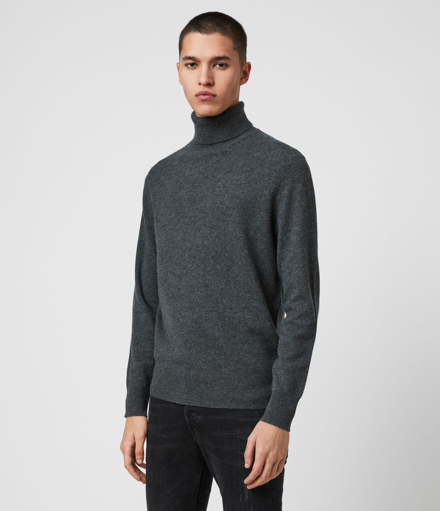 Mens Glen Roll Neck Sweater (charcoal_marl) - Image 4