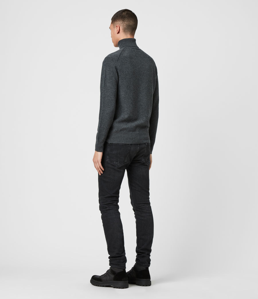 Mens Glen Roll Neck Sweater (charcoal_marl) - Image 5