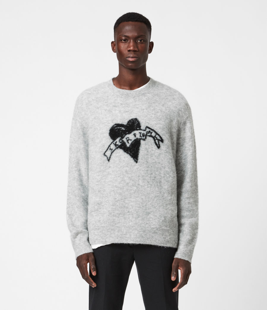 Hombre Heart Crew Sweater (light_grey_marl) - Image 1