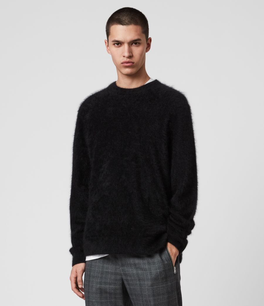 Mens Wulf Cashmere Crew Sweater (black) - Image 1