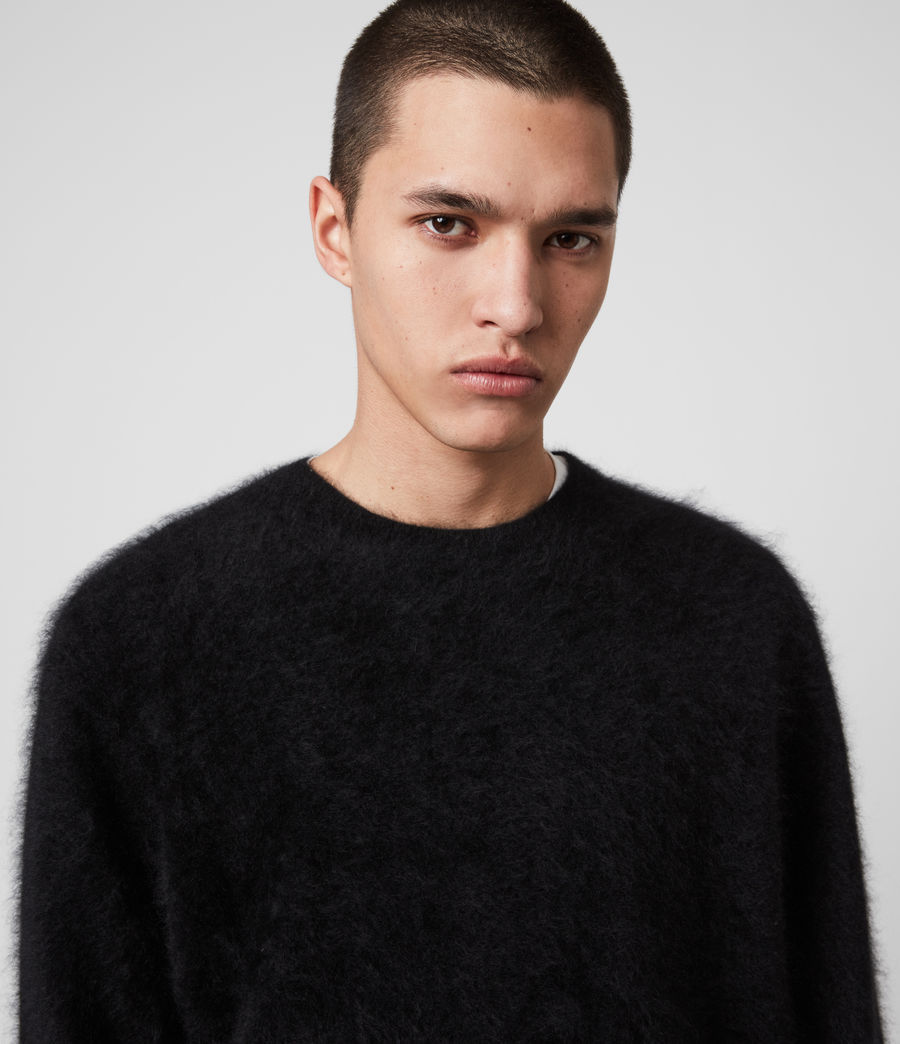 Mens Wulf Cashmere Crew Sweater (black) - Image 2