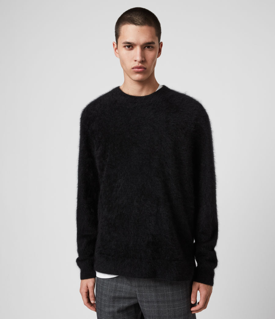 Mens Wulf Cashmere Crew Sweater (black) - Image 4