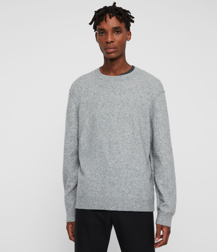 Mens Austell Crew Cashmere Blend Sweater (grey_marl) - Image 1