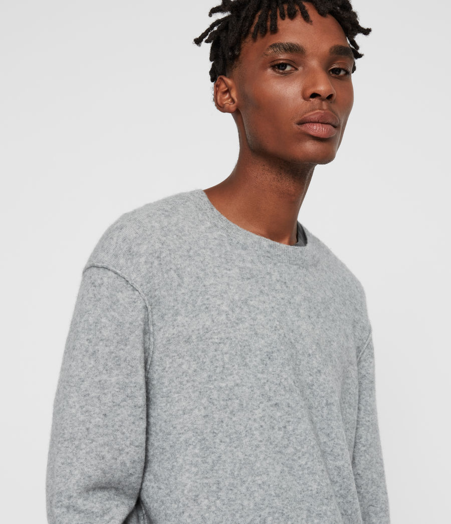 Men's Austell Crew Cashmere Blend Jumper (grey_marl) - Image 2