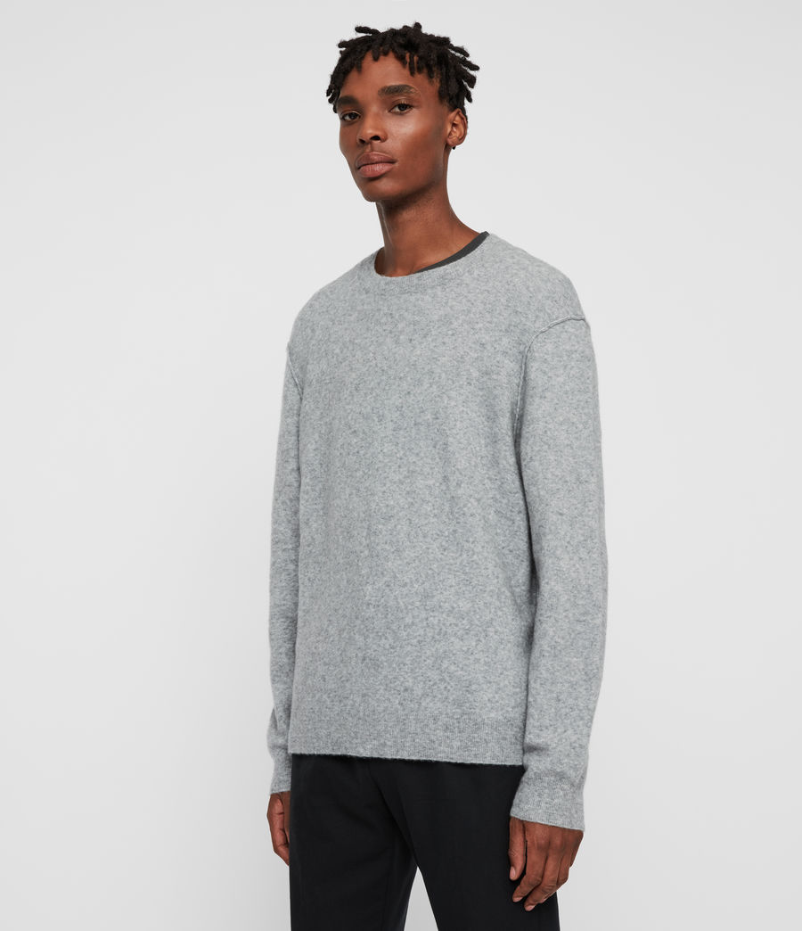 Men's Austell Crew Cashmere Blend Jumper (grey_marl) - Image 4
