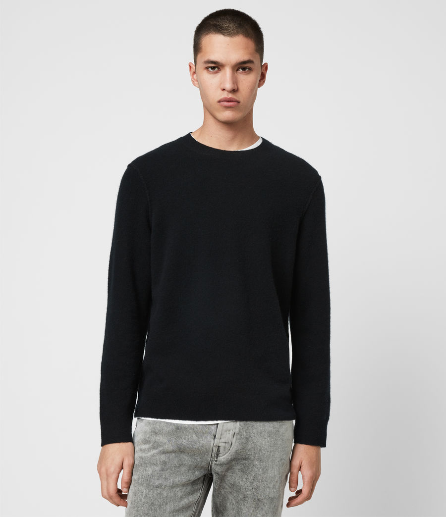 Mens Austell Crew Cashmere Blend Sweater (black) - Image 1
