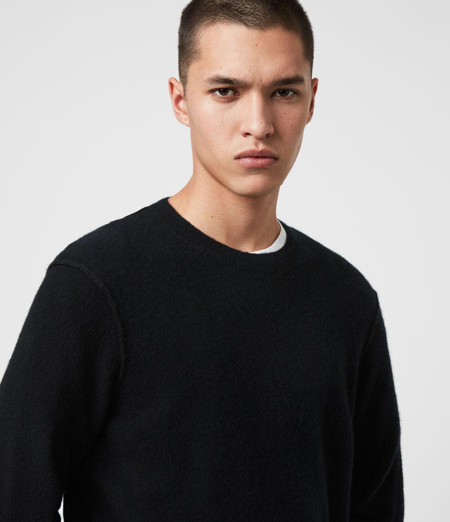 Mens Austell Crew Cashmere Blend Sweater (black) - Image 2