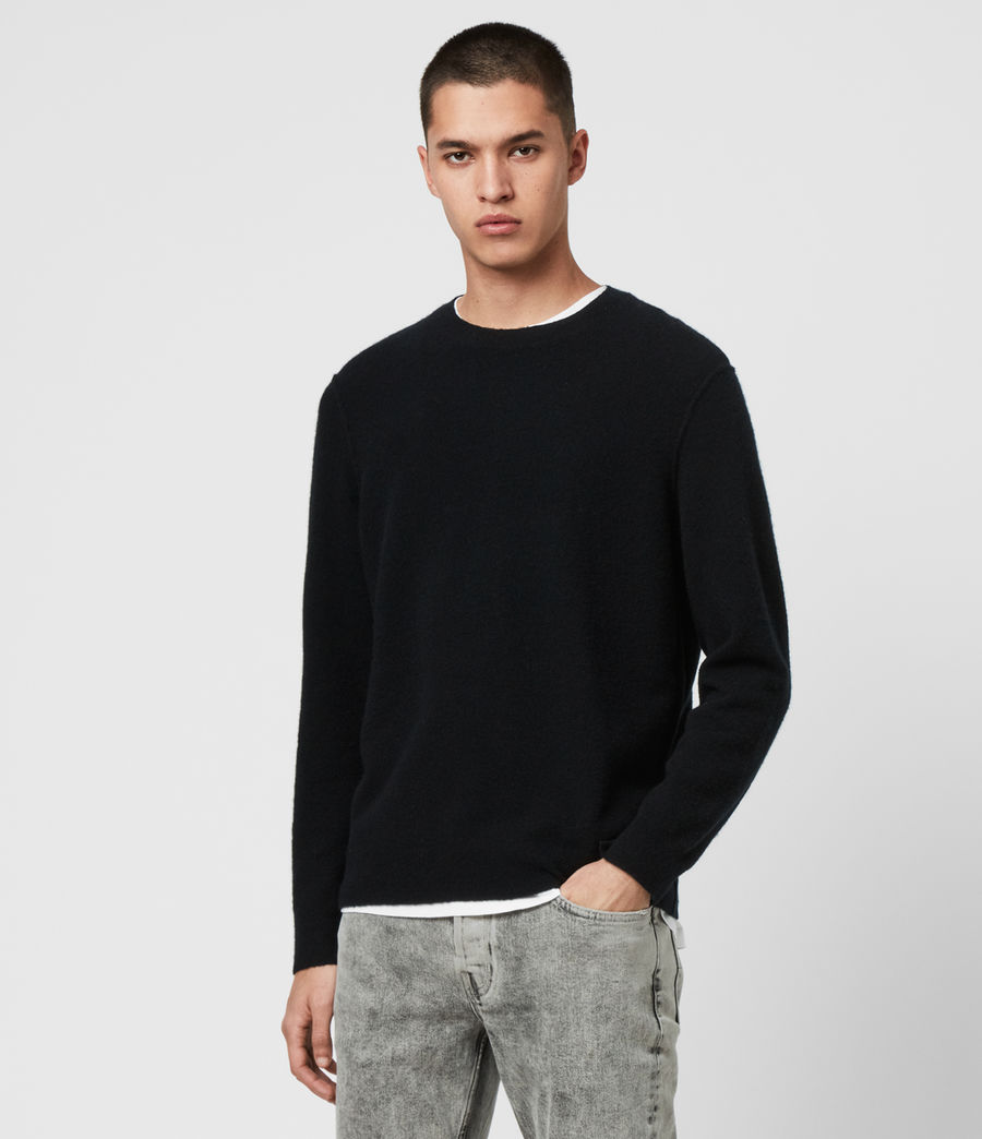 Mens Austell Crew Cashmere Blend Sweater (black) - Image 3
