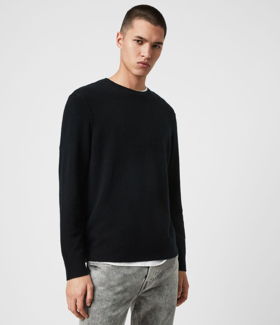 Mens Austell Crew Cashmere Blend Sweater (black) - Image 4