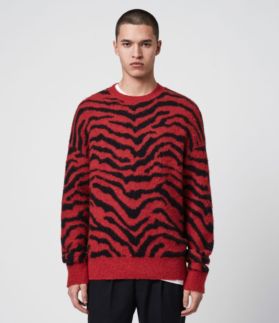 Men's Tigre Crew Jumper (crimson_red_black) - Image 1