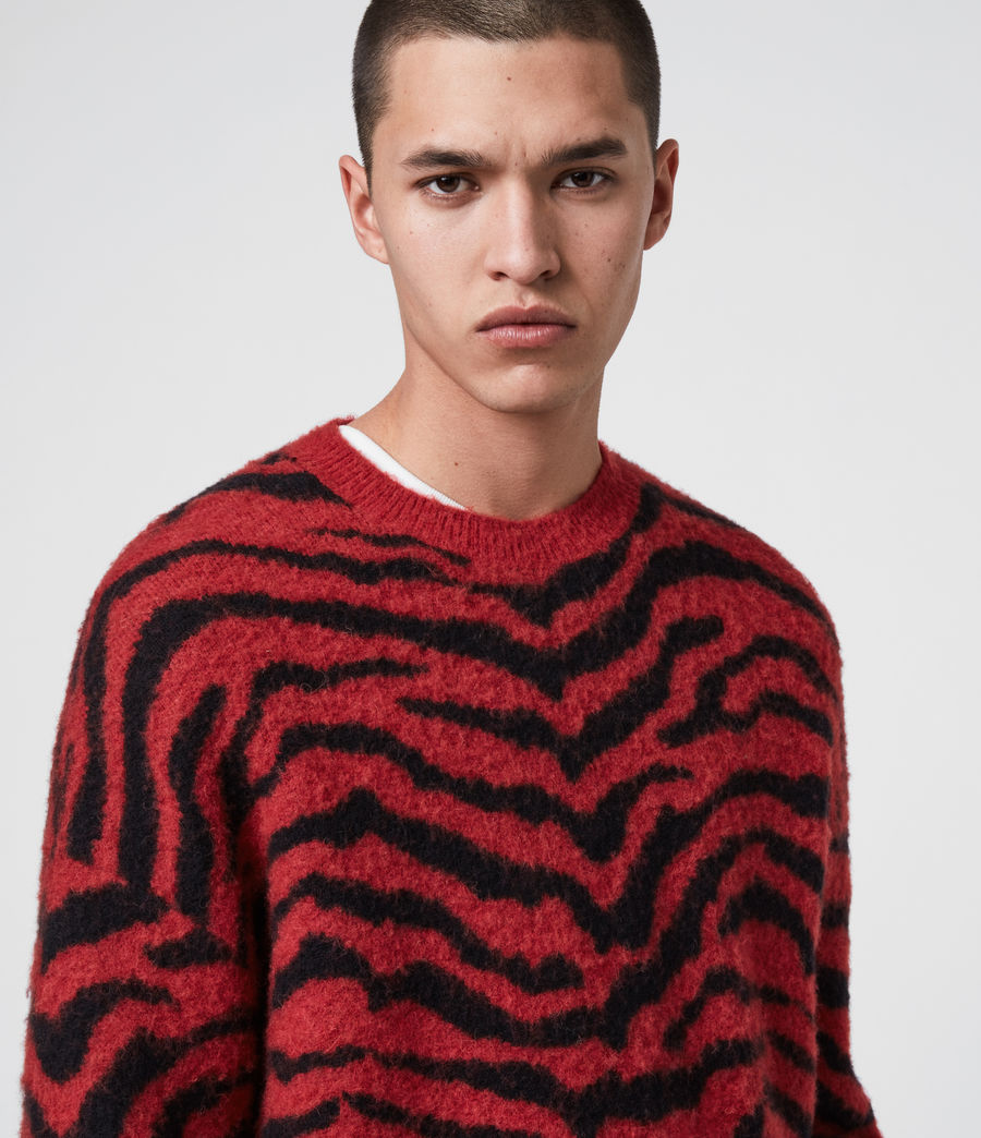 Mens Tigre Crew Sweater (crimson_red_black) - Image 2