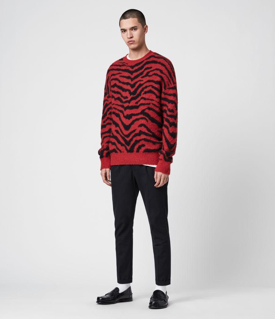 Mens Tigre Crew Sweater (crimson_red_black) - Image 3