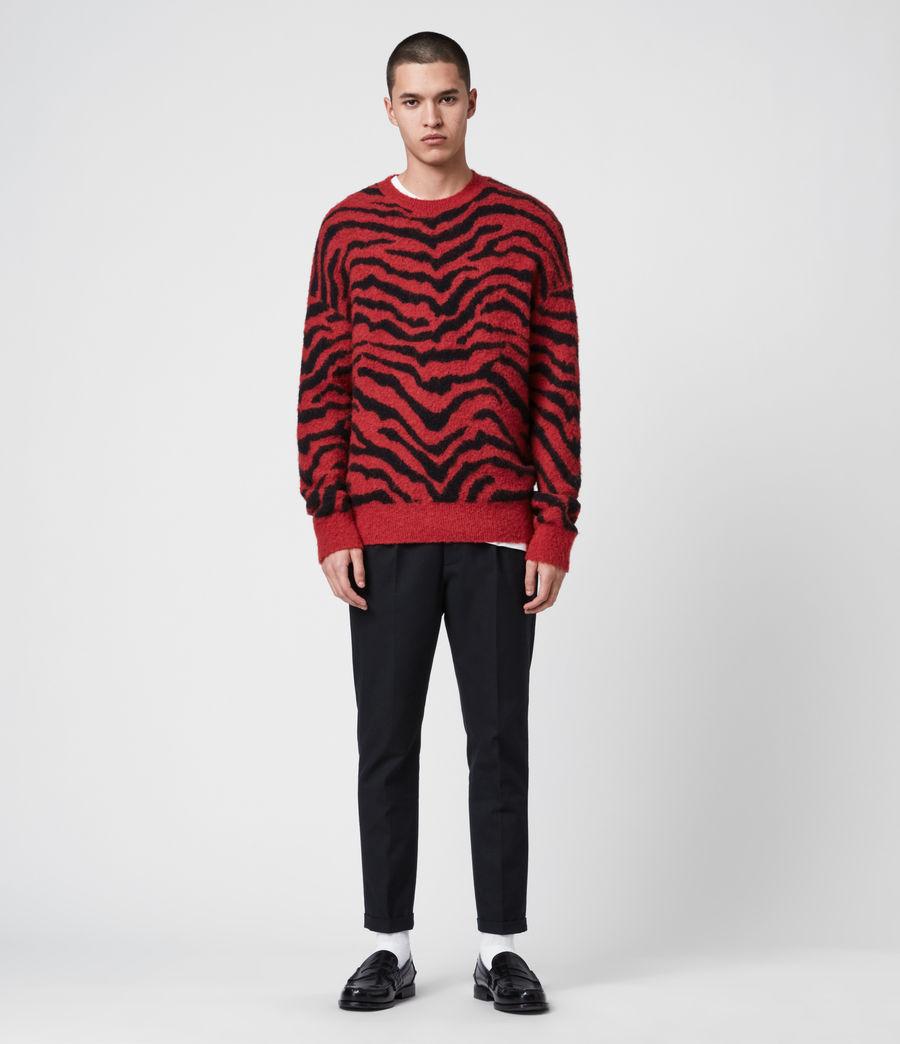 Mens Tigre Crew Sweater (crimson_red_black) - Image 4