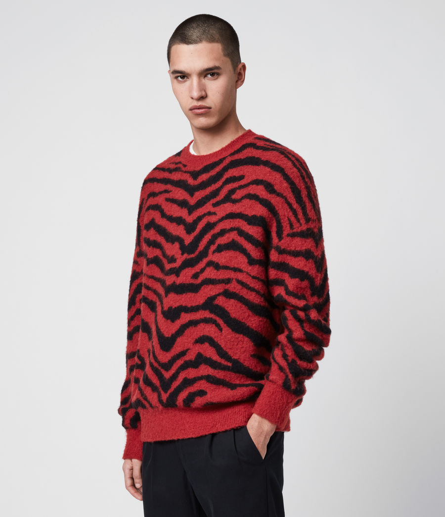Mens Tigre Crew Sweater (crimson_red_black) - Image 5
