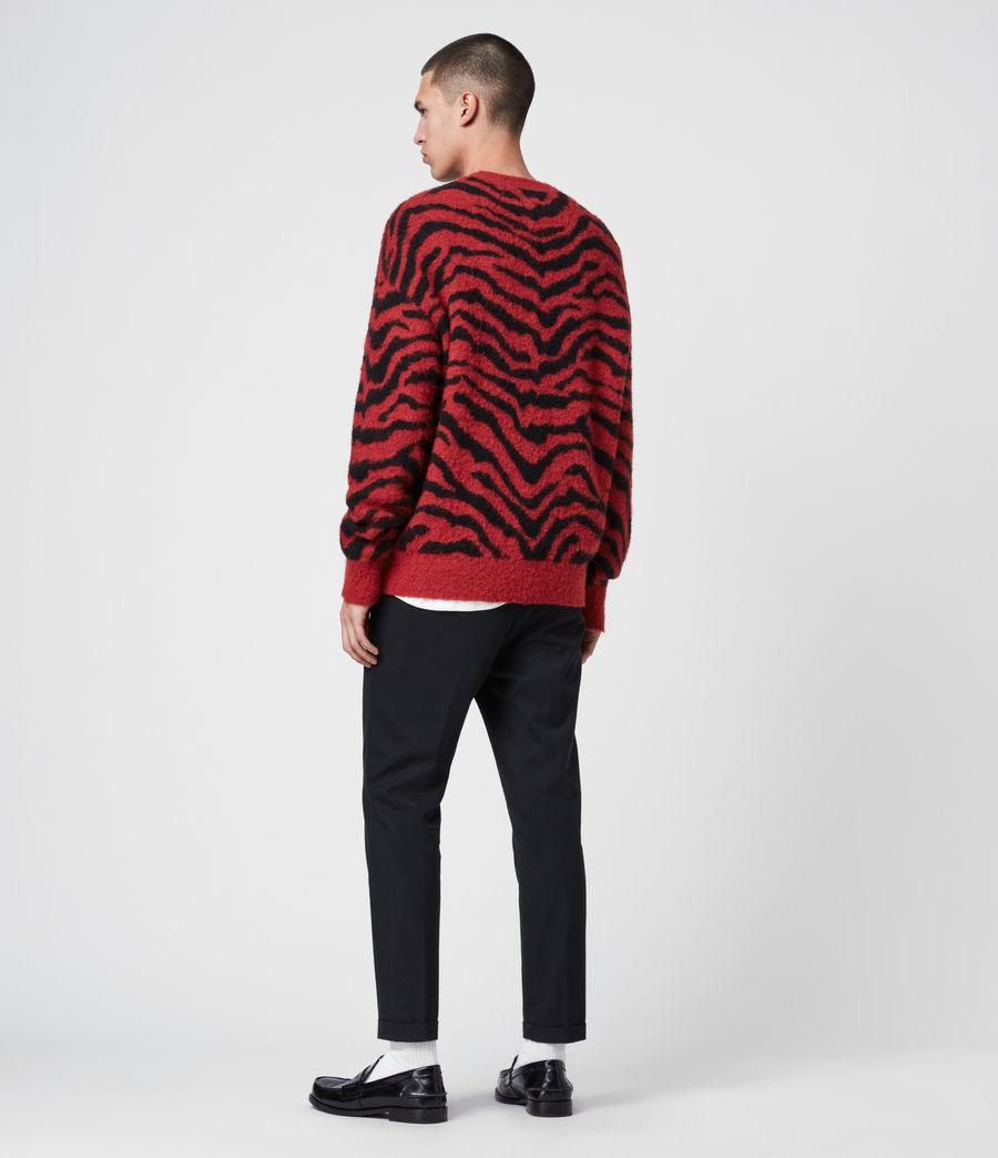 Mens Tigre Crew Sweater (crimson_red_black) - Image 6
