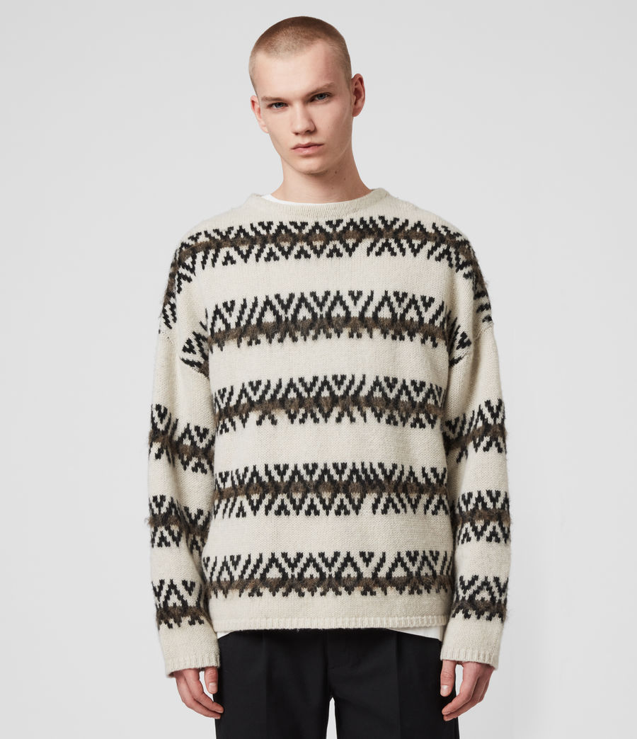 Mens Orvik Crew Sweater (ecru_black) - Image 1