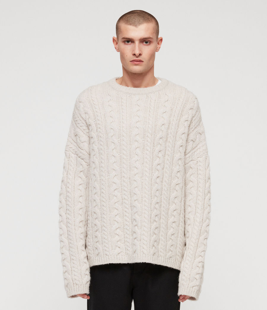 Mens Gable Crew Sweater (ecru_white) - Image 1