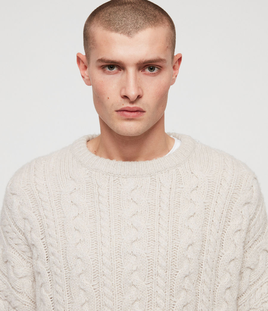 Mens Gable Crew Sweater (ecru_white) - Image 2