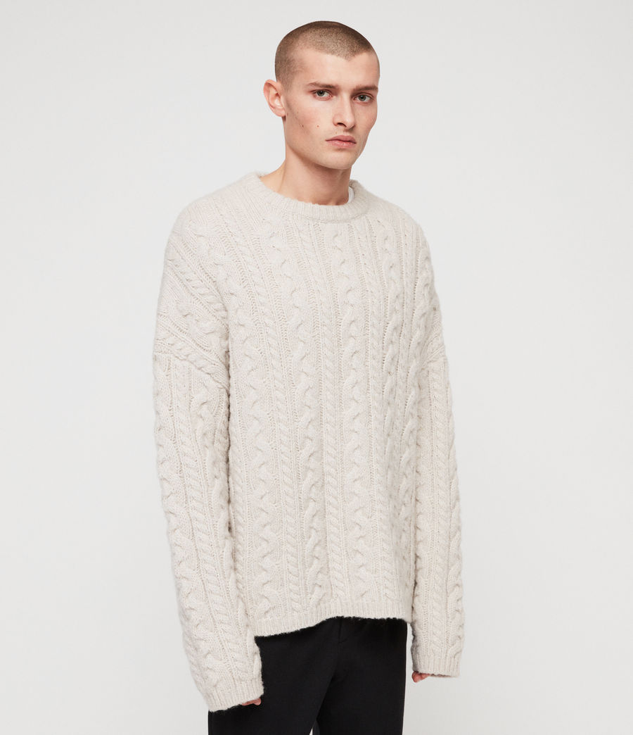 Mens Gable Crew Sweater (ecru_white) - Image 4