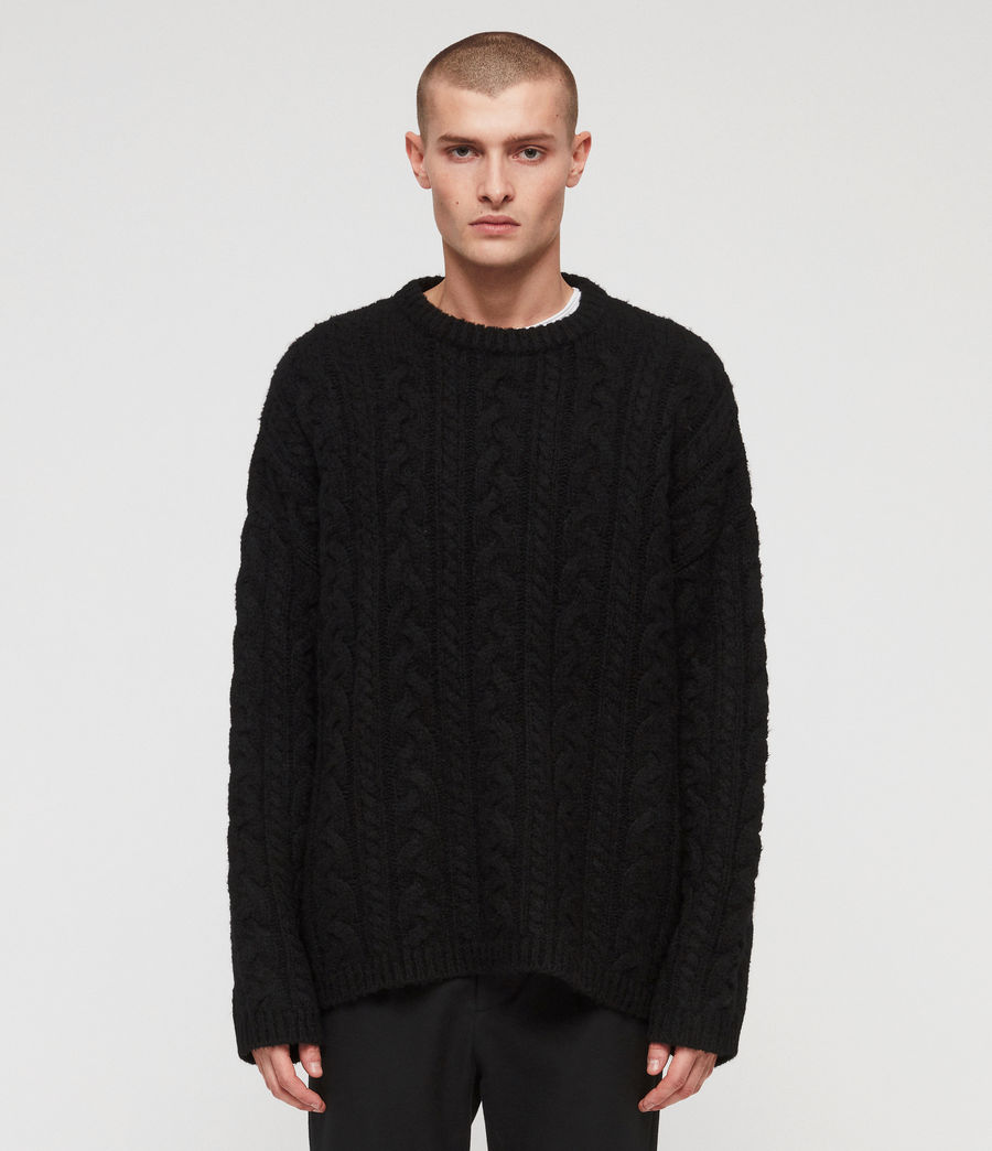 Mens Gable Crew Sweater (black) - Image 1