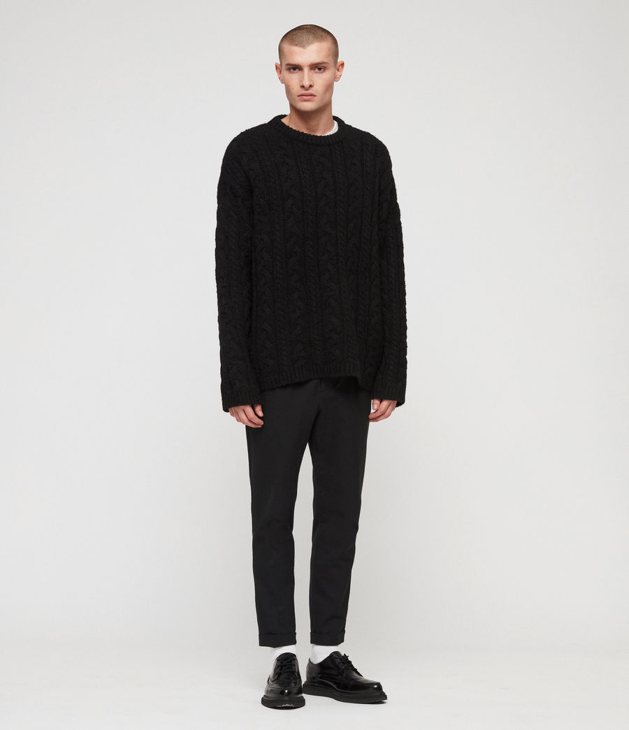 Mens Gable Crew Sweater (black) - Image 3
