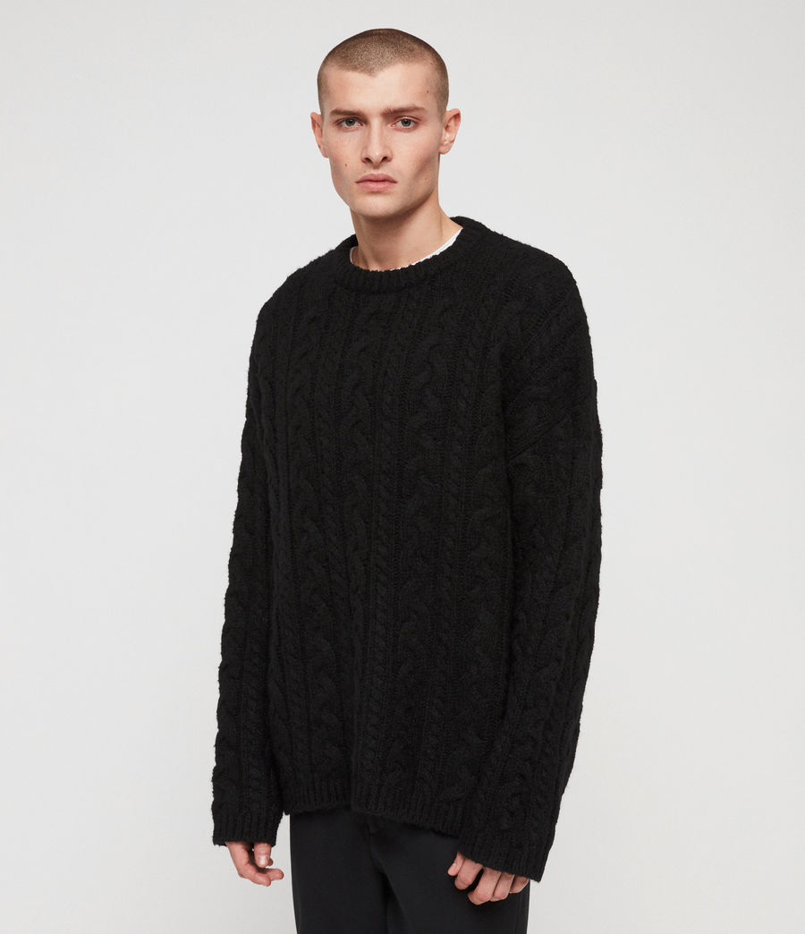 Mens Gable Crew Sweater (black) - Image 4