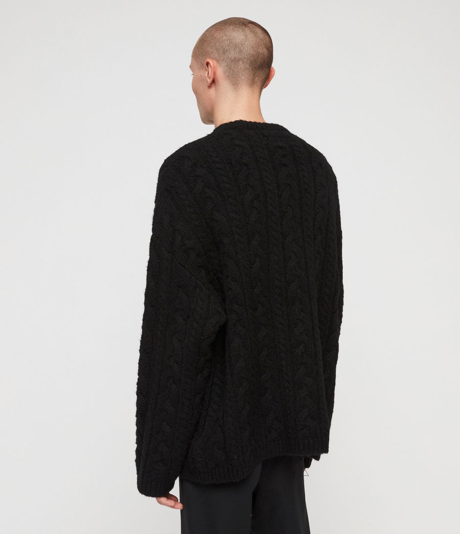 Mens Gable Crew Sweater (black) - Image 5