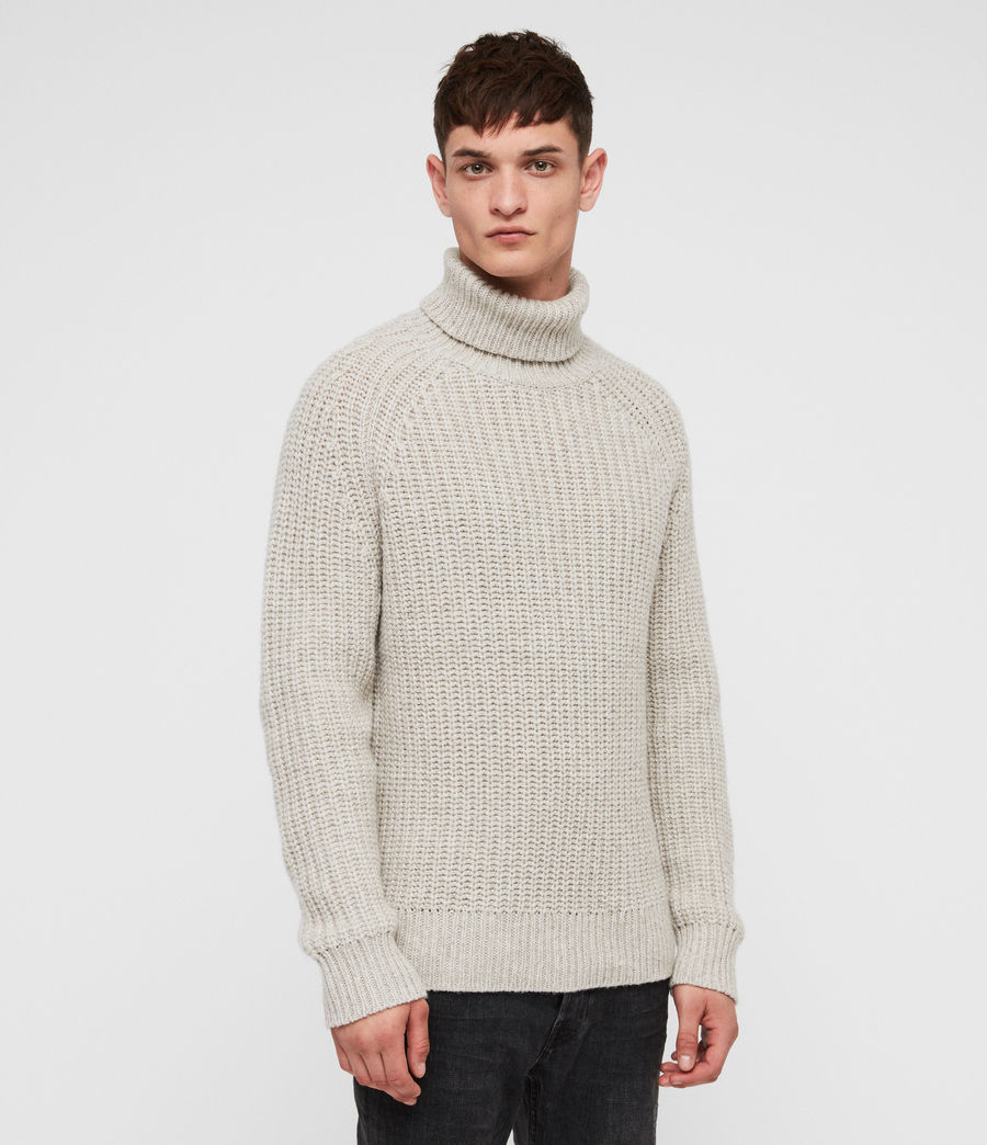 Mens Mast Funnel Neck Sweater (taupe_marl) - Image 1
