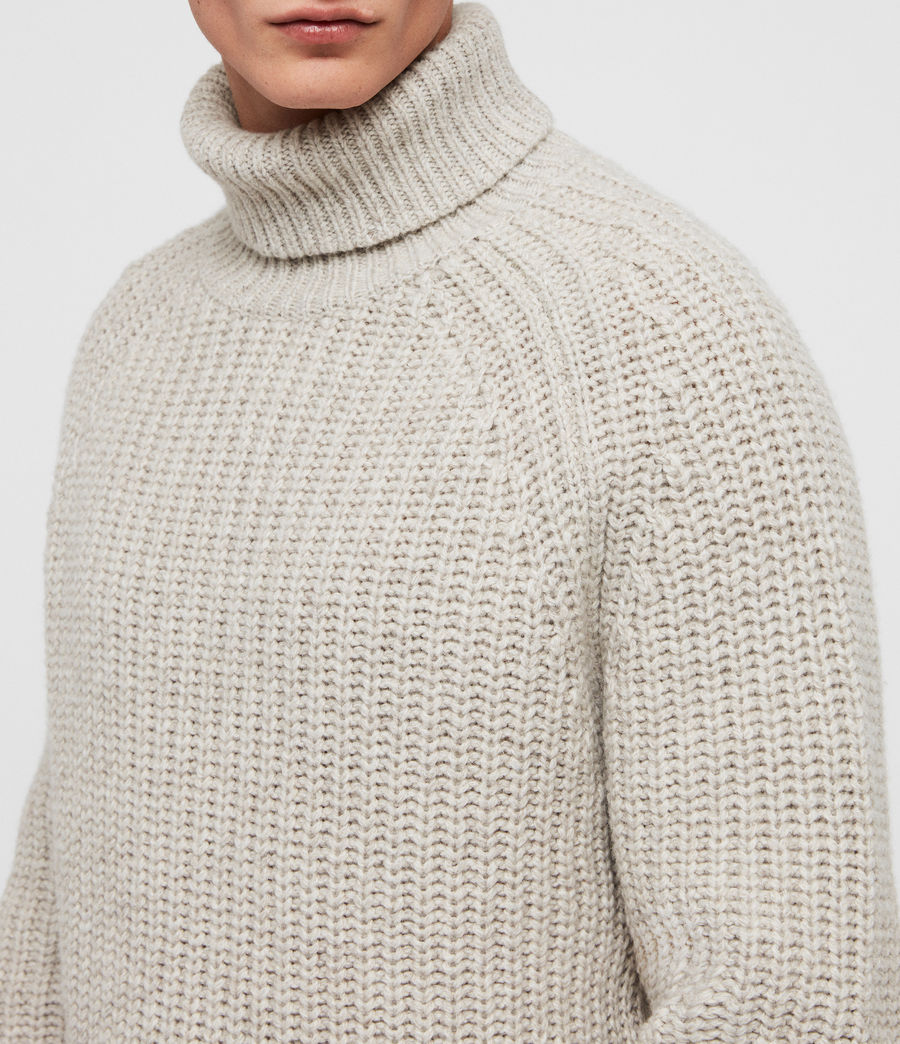 Mens Mast Funnel Neck Sweater (taupe_marl) - Image 2