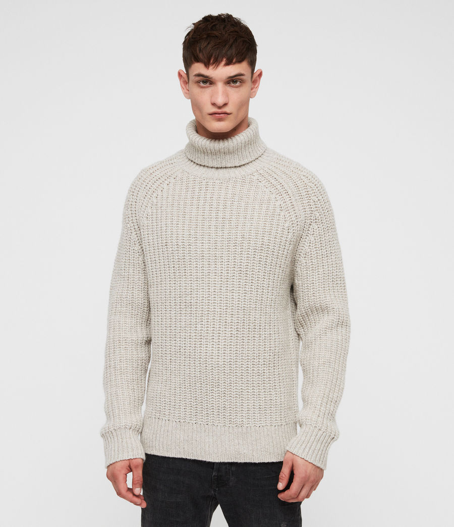 Mens Mast Funnel Neck Sweater (taupe_marl) - Image 3